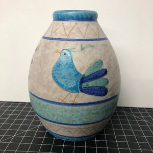 Vintage hand painted Italian vase blue bird